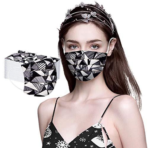 50/100 STK Einmal-Mundschutz,mundschutz einweg, Dreischichtige Einweg Mund und nasenschutz, mundschutz Erwachsene,Atmungsaktive und komfortable elastische Ohrmuscheln Gesichtsschutz (50, F)