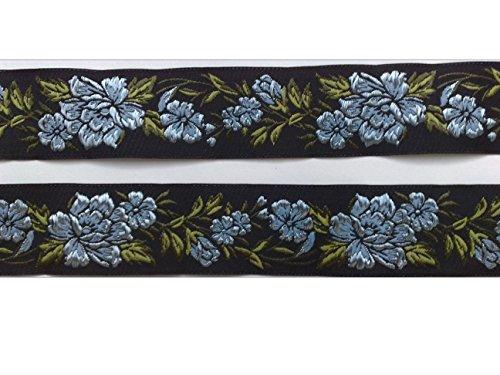 2 m Borte Rosenranken Blumen Tracht Landhaus Dirndl Wiesn 35 mm breit Farbe: schwarz-hellblau
