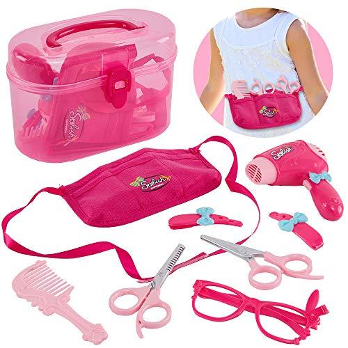HERSITY Friseurkoffer Kinder mit Haartrockner Hairstyling Friseur Rollenspiel Spielzeug für Prinzessin Mädchen