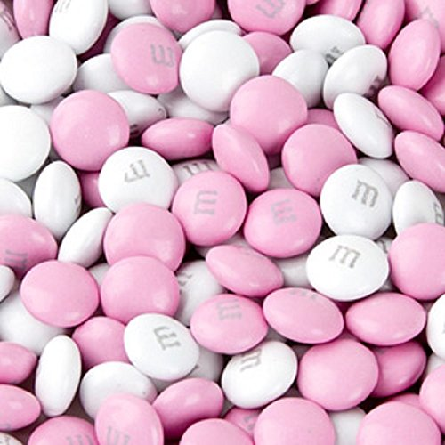 M&M's Light Pink & White Milk Chocolate Candy 1LB Bag
