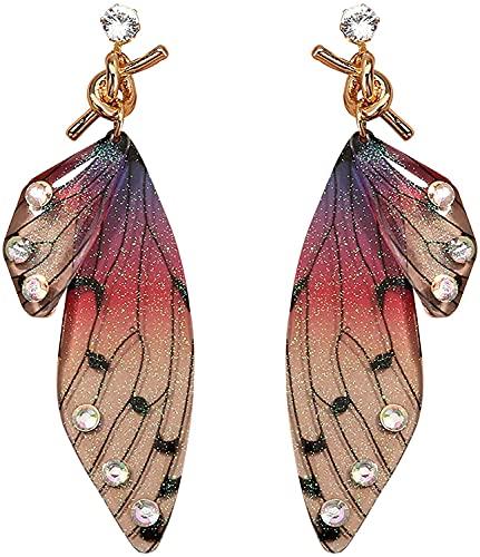 HNZNCY Pendientes colgantes de alas de mariposa para mujer con forma de mariposa y gancho de mariposa de acrílico para fiesta de verano, boda, regalo de cumpleaños