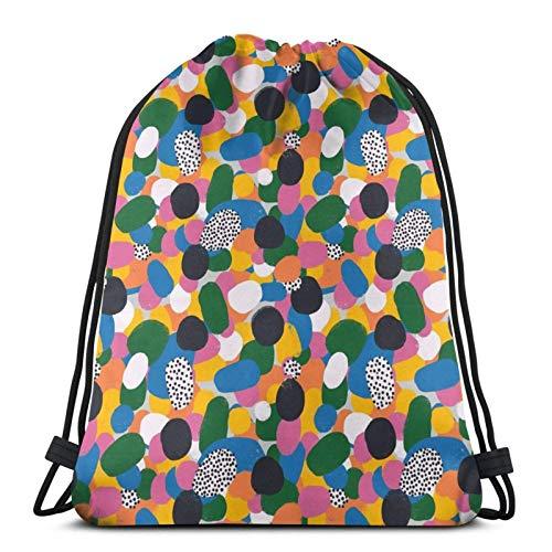 LREFON Bolsa con cordón Arco Iris Abstracto Almohada para el Piso Entrenamiento Gymsack