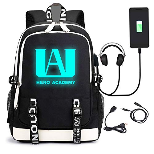 My Hero Luminous Backpack Academia Cosplay with USB Charging Port Bookbag Daypack