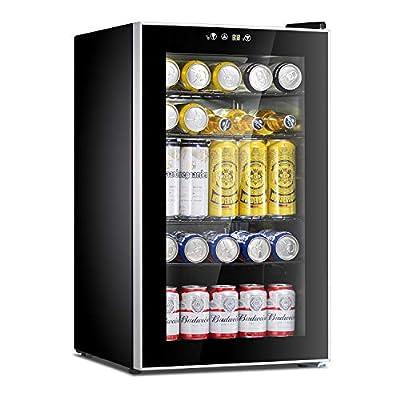 Antarctic Star Beverage Refrigerator Cooler-120 Can Mini Fridge Glass Door for Soda Beer Wine Stainless Steel Glass Door Small Drink Dispenser Machine Digital Display for Home, Office Bar,4.5cu.ft