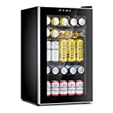 Antarctic Star Beverage Refrigerator Cooler-85 Can Mini Fridge Glass Door for Soda Beer Wine Stainless Steel Glass Door Small Drink Dispenser Machine Digital Display for Home, Office Bar,2.3cu.ft
