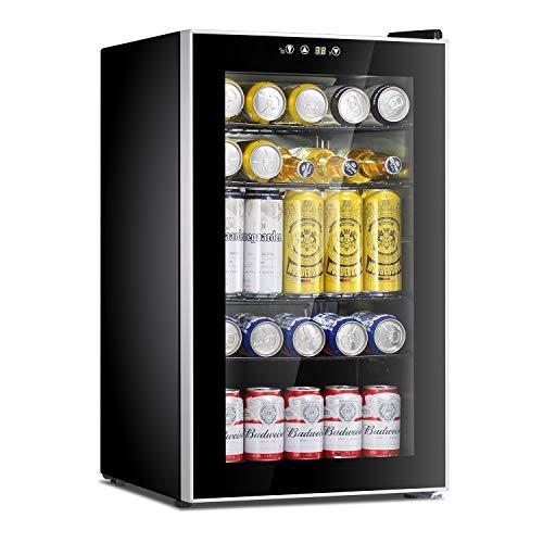 Antarctic Star Beverage Refrigerator Cooler-85 Can Mini Fridge Glass Door for Soda Beer Wine Stainless Steel Glass Door Small Drink Dispenser Machine Digital Display for Home, Office Bar,2.3cu.ft