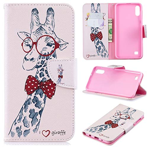 Galaxy A10 Case, Galaxy M10 Case, iYCK Premium PU Leather Flip Folio Magnetic Closure Protective Shell Wallet Case Cover for Samsung Galaxy A10/M10 6.2inch with Kickstand Stand - Giraffe