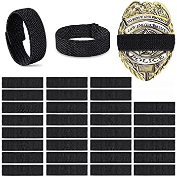 Yinder 30 Pieces Police Mourning Band Stripe Funeral Honor Guard Elastic Straps Police Officer Badge Mourning Twill Band  Black