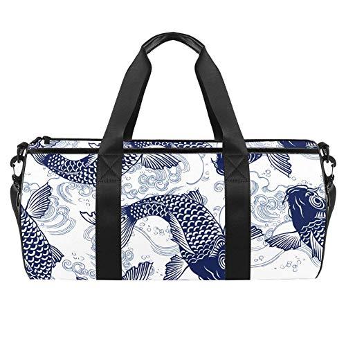 TIZORAX - Bolsa de lona con bolsillo impermeable para pesca de carpa Koi Wave