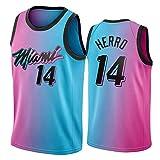 Tyler Herro Jersey para Hombre, Miami Heat 14# 2021 Temporada City Edition Camisetas de Baloncesto, Tela Transpirable Swingman Vestima sin Mangas Top (S-XXL) M