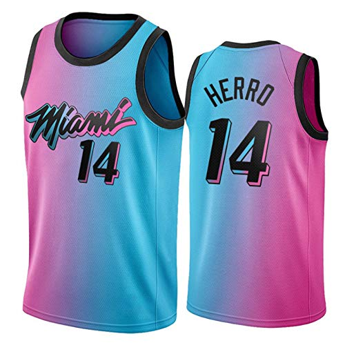 YPKL Miami Heat 14# Tyler Herro Jersey para Hombre, 2021 Temporada City Edition Basketball Jerseys, Tela Transpirable Swingman Vestir Chaleco Superior (S-XXL) L