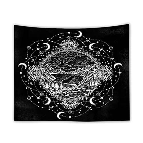 JIAQINLONG Tapiz Tapiz Celestial Colgante De Pared Negro Sol Luna Estrella Fondo De Techo Paño De Pared Alfombra Cubierta De Sofá Decoración del Hogar 130 * 150 Cm