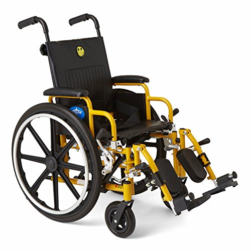 Medline Kids Pediatric Wheelchair 14quot Wide Seat SwingAway DeskLength Arms Elevating Leg Rests Yellow Frame is Great for Children