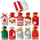 50 Pezzi Sacchetti di Biscotti Regalo Borse con Coulisse Borsa Natalizia Sacchetto di Plastica con Nastro per Feste Bomboniera di Compleanno Natale Capodanno