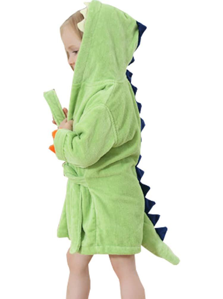 Maleroads Little Boy Girl Cotton Towel Bathrobe Cartoon Dinosaur Hooded Bath Robe 1-6Y