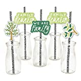 Family Tree Reunion - Paper Straw Decor - Family Gathering Party Striped Decorative Straws - Set of 24