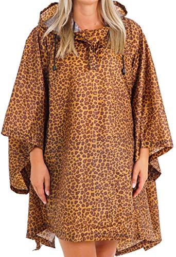 Vibe Reusable Rain Poncho Adult Men Women Many Prints, Hooded Unisex Raincoat