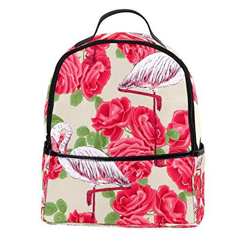 Yitian Rucksack aus PU-Leder mit Flamingo- und rotem Tose-Muster