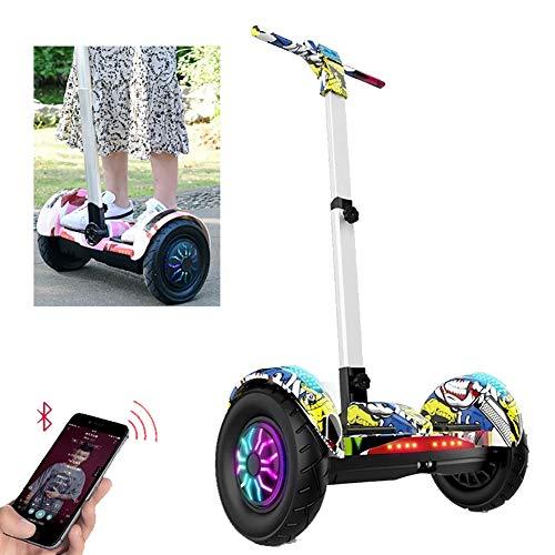 FLy Patinete Eléctrico Auto Equilibrio Hover Board 10 '' con Luces LED Bluetooth Modelo, Barandilla De Seguridad con Longitud Ajustable Regalo para Niños Y Adultos,Street Dance