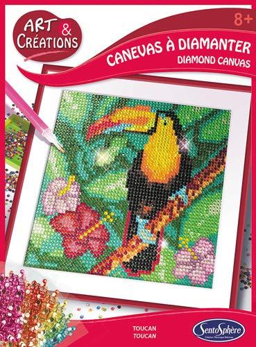 Sentosphere 02028 Bastelset Strassstein-Bild, Motiv Tukan, Kreativ-Set, DIY für Kinder und Erwachsene, Mehrfarbig