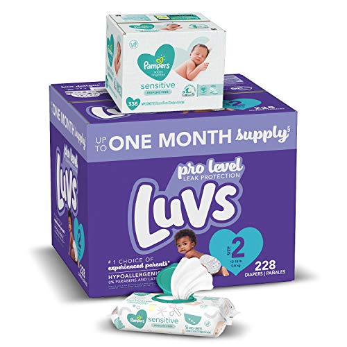 Diapers Size 2, 228 Count and Baby Wipes - Luvs Ultra Leakguards Disposable Baby Diapers, ONE Month Supply with Pampers Sensitive Water Based Baby Diaper Wipes, 6X Pop-Top Pack, 336 Total Wipes