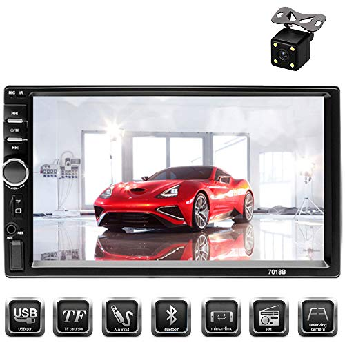 "Aigoss Car Stereo Bluetooth MP5 Video Digital Player 7"" Touch Screen 2 Din Car Radio Wireless Remote Control Hands Free Multimedia with Rear-View Camera, Support Backup/TF/FM/AUX/USB"