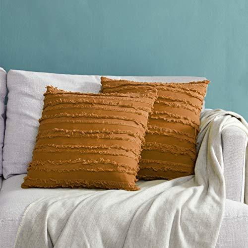 GIGIZAZA Decor Throw Couch Pillow Covers,18x18 Linen Burnt Orange Cinnamon Sofa Pillows,Square Sofa Cushion Covers