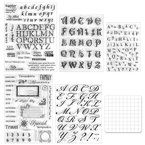Cieovo 5 Sheets Alphabet Clear Silicone Stamps and 1 Pcs Stamp Blocks Acrylic Clear Stamping Blocks Tools for Scrapbooking Crafts Making DIY Photo Album DIY Crafts Ornaments