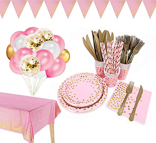 142 Pieces Pink and Gold Party Supplies Set, Golden Party Dinnerware, Include Pink Paper Plates Napkins Cups, Plates, Cups, Napkins for Graduation, Birthday, Cocktail Party