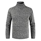 ZZOU Men's Turtle Neck Jumper Turtleneck Sweater Ribbed Slim Fit Knitted Pullover Knitwear Casual Wool Blend T Shirt Long Sleeve Thermal Knit Soft Sweatshirt Tops Plain Tunic Blouse Shirt