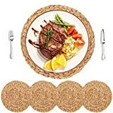 HomeDo 4Pack Large Round Woven Placemats for Dining Table, Water Hyacinth Straw Braided Placemat, Heat Resistant Non-Slip Weave Placemats Handmade(Grass-4, 11.8''(30cm))