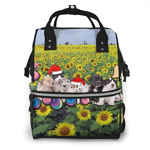 GXGZ Sac à dos imperméable à couches de Noël de champ de tournesol pleine fleur, compartiment avec deux poches et huit rangements, sacs d'allaitement élégants et durables pour les parents