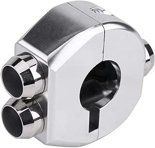 KIMISS 22mm CNC Aluminium Alloy Motorcycle Handlebar Switch Triple Handlebar Latching Switch Reset Button(Silver)