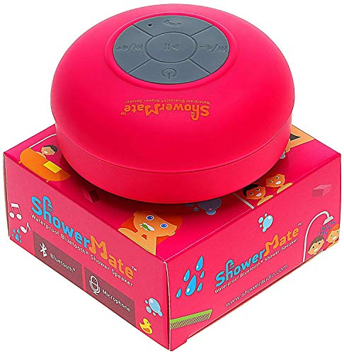 ShowerMate Wireless Speaker   Water-Resistant Shower Radio with Hands-Free Speakerphone and Built-in Mic   Compatible with All Devices - Pink
