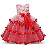 TTYAOVO Flower Girls Wedding Dress Bowknot Princess Pageant Dresses 2-3 Years T-Red (Size 110)