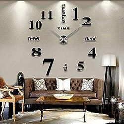 Best4UrLife 3D DIY Wall Clock,Mirror Stickers Mute Large Wall Clock,Wall Decorations for Living Room Bedroom Office,Frameless Modern Design (Black, 50x50cm)