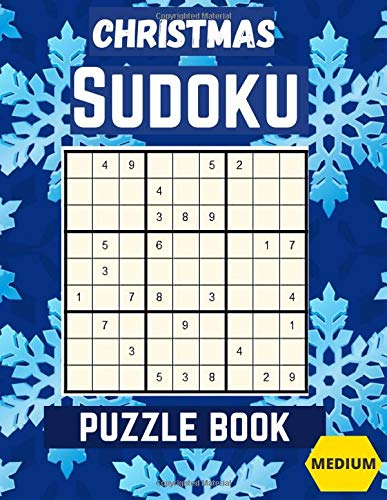 Christmas Sudoku puzzle Book: Medium Large Print Sudoku Puzzles games Book for Adults with Solutions: Perfect Present for Christmas cards, Easter, ... Greeting, father's day Gifts, Teens and kids