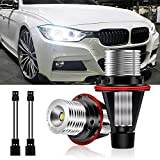 Ultra White 6000K 10W E39 Error Free LED Angel Eyes Halo Ring Marker Bulbs Replacement fit for PARTIAL BMW 5 6 7 Series X3 X5 (Fit PARTIAL E39 E53 E60 E63 E64 E65 E66 E83)