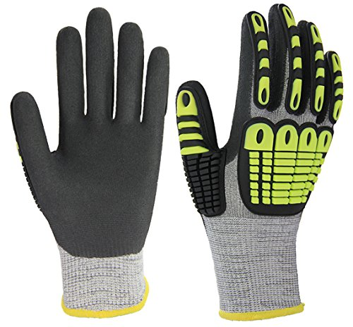 Impact Reducing Cut Resistant Work Gloves, Superior Grip Coating Level 5 Protection for Mechanic Car Tools Garden Construction Multi-Purpose