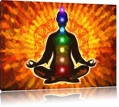 Pixxprint Meditation mit den 7 Chakren Kunst als Leinwandbild | Größe: 120x80 cm | Wandbild | Kunstdruck | fertig bespannt