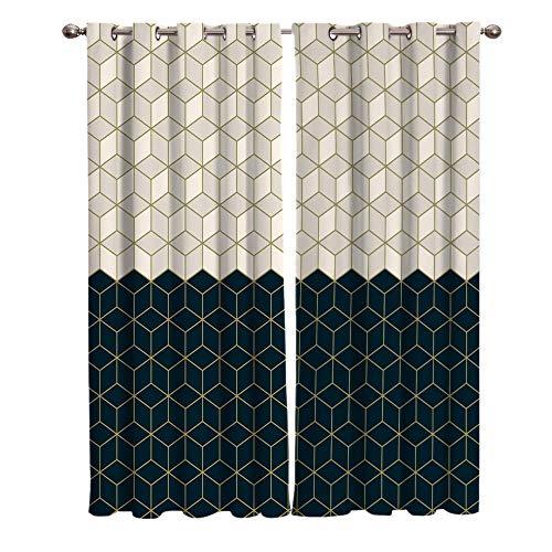 Cortinas Salon Rejilla de Panal Habitacion Opacas Termicas para Dormitorio Moderno con Ojales 2 Piezas2 x 117 x 137 cm