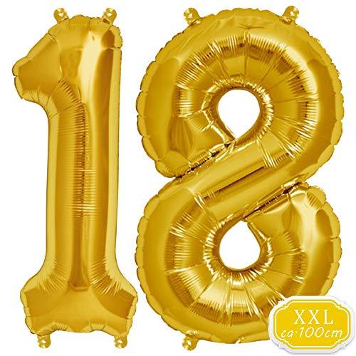 DeaGo XXL Folienballon Zahl [ca.100cm], Gold Luftballon Zahlen für Geburtstag Jubiläum & Party Geschenk partydeko Folienballon Zahlen Luftballons Happy Birthday