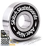 SKITCH Pro Skateboard Bearings Set - Precision Fast Spin ABEC 9 Chrome Steel Bearing Kit for Longboards, Skate Boards, Scooters and Roller Skates + Spacers + Washers + BONUS Carry Case (8-Pack, Black)