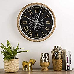 Glitzhome 20.47 D Vintage Industral Metal Silent Non-Ticking Wall Clock,Battery Operated Round Clock with Moving Gears Wall Decorative for Home Office School