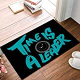 OPLJ Time Is A Leader - Alfombrillas de Puerta con Reloj Despertador Alfombra de Entrada de baño de Suelo de Cocina Alfombra Absorbente de baño Interior A1 40x60cm
