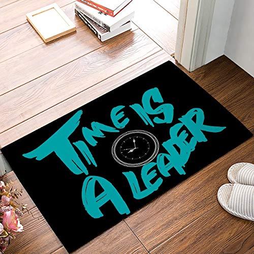 OPLJ Time Is A Leader - Alfombrillas de Puerta con Reloj Despertador Alfombra de Entrada de baño de Piso de Cocina Alfombra Absorbente de baño Interior A1 40x120cm