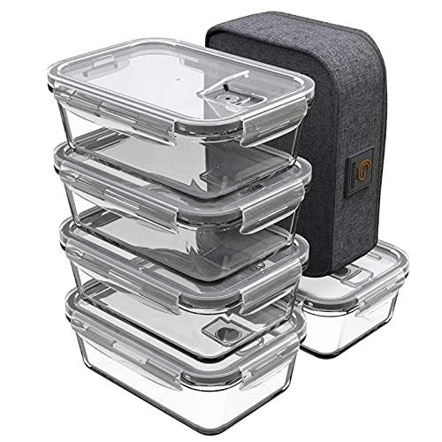 GENICOOK Lunchbox Bento Brotdose mit Lunchtasche/Frischhaltedosen Glas perfekt für Meal Prep - BPA frei für Home Küche oder den Gebrauch unterwegs(5 * 840ml)