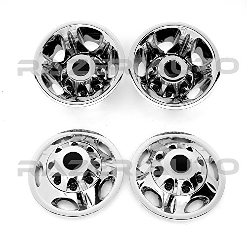 "Razer Auto Chrome 17"" Wheel Simulator Liner + Center Caps Cover 8pcs Set (Chrome) for 11-16 Chevy Silverado 3500 Dually & 11-16 GMC Sierra 3500 Dually ONLY"