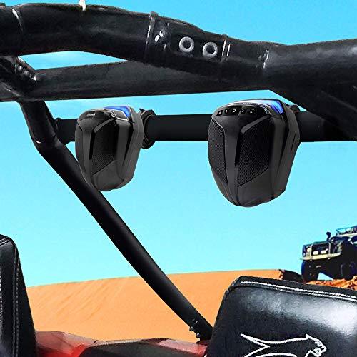 "GoHawk ATN4 All-in-One Built-in Amplifier Waterproof 5"" Full Range Bluetooth ATV RZR UTV Stereo Speakers Audio Amp System,1.5 to 2"" Rollcage Bar Mount Yamaha Polaris 4 Wheeler Can-Am FM Radio USB"