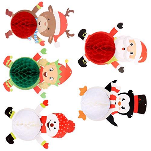 BESPORTBLE 5Pcs Weihnachten Hängen Waben Ornamnet Papier Santa Elk Schneemann Pinguin Laterne DIY Decke Hängen Girlande Weihnachten Party Dekor für Wand Veranda Fenster